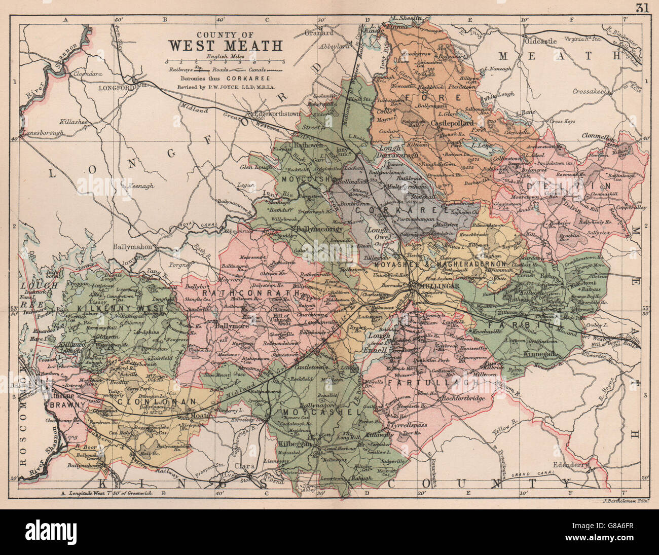 Westmeath Ireland Map.County Westmeath Antique County Map Leinster Ireland Bartholomew