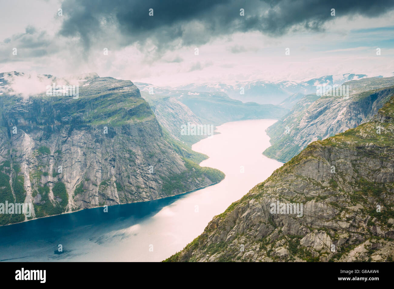 Scenic View From Rock Trolltunga - Troll Tongue In Norway - Stock Image