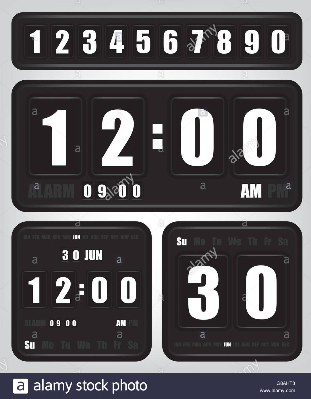 Digital retro clock and calendar - Stock Image