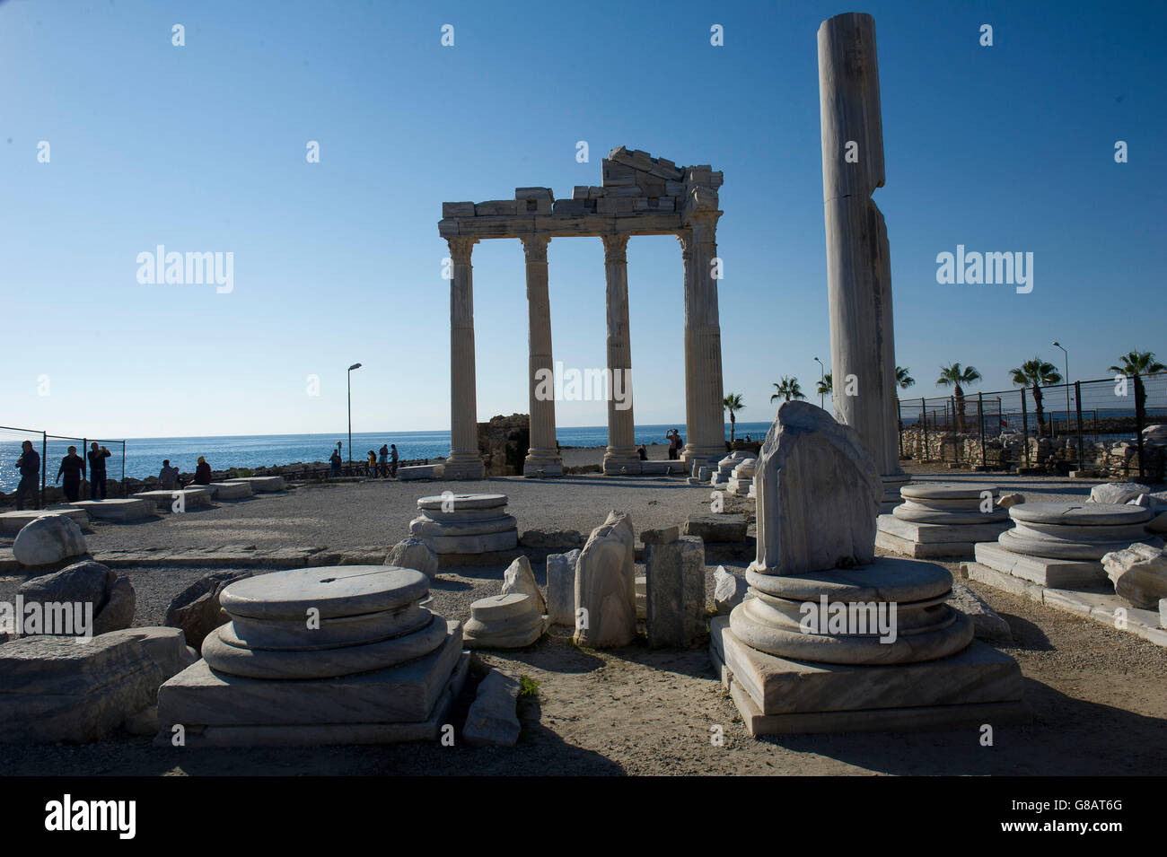 Ruins of Temple of Apollo in Side, Antalya province, on the southern Mediterranean coast of Turkey - Stock Image