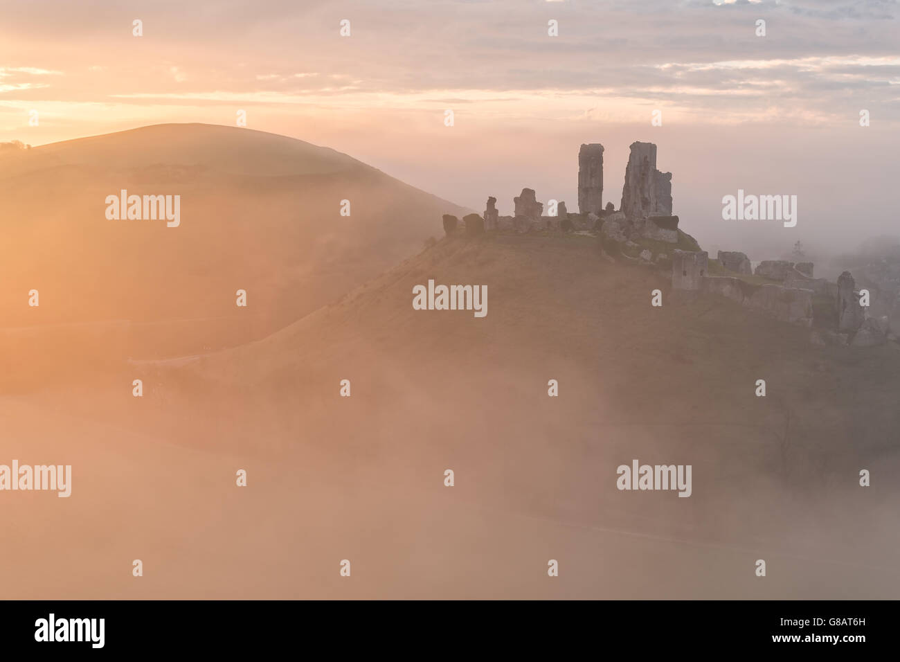 Corfe Castle Morning - Stock Image