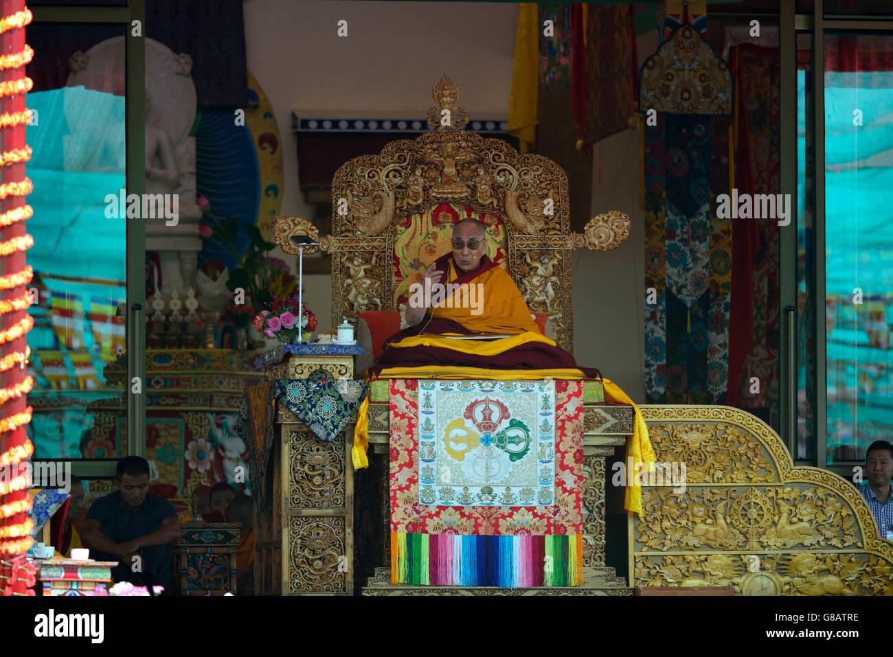 Dalai Lama during the Kalachakra-Initiations, Choklamsar, Ladakh, Jammu and Kaschmir, India - Stock Image