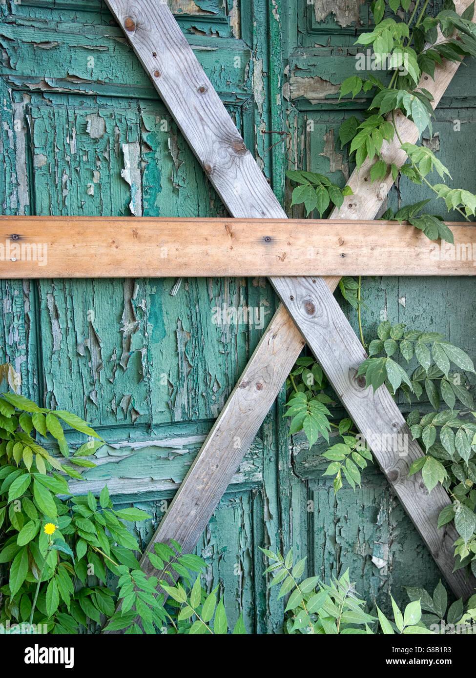 Barred doorway. No entry, exit. - Stock Image