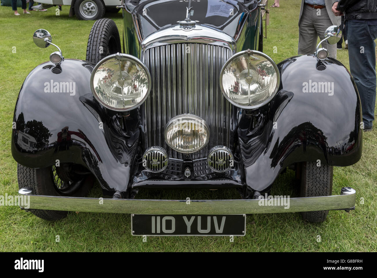 Vintage transport day at Lymm in Cheshire North West England. An old Bentley radiator gleams. - Stock Image