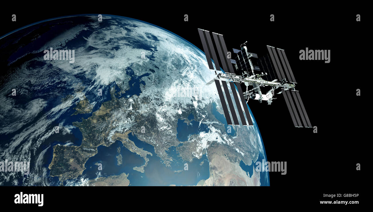 ISS - International Space Station orbiting Earth - Stock Image