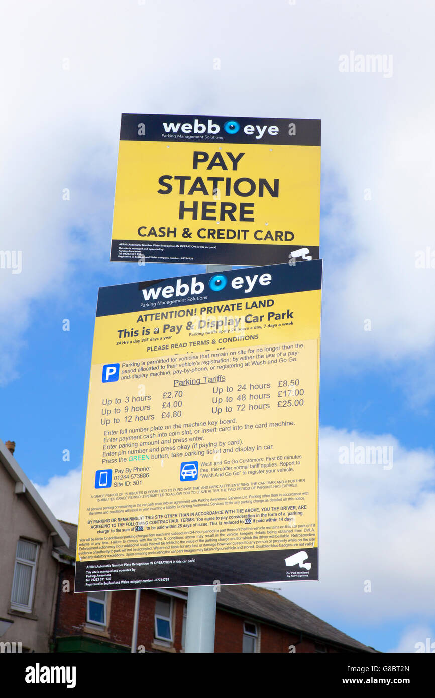 Car park tariffs & terms and conditions signs, Blackpool, Lancashire, UK - Stock Image