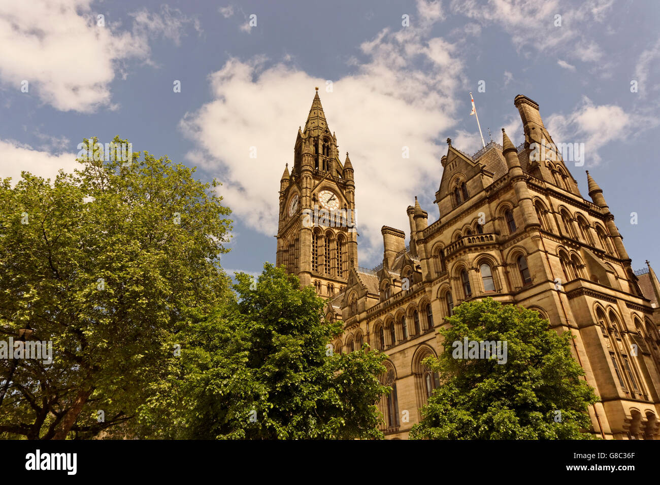 Manchester Town Hall, Albert Square, Manchester City Centre, England. - Stock Image