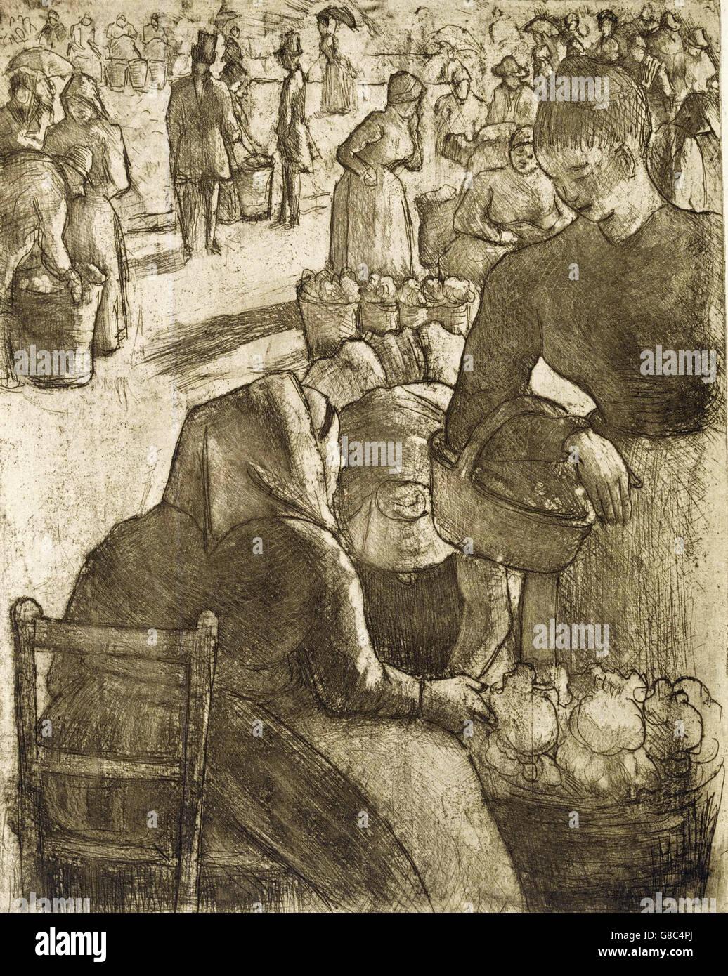 Camille Pissarro - Marché aux Légumes à Pontoise - Stock Image