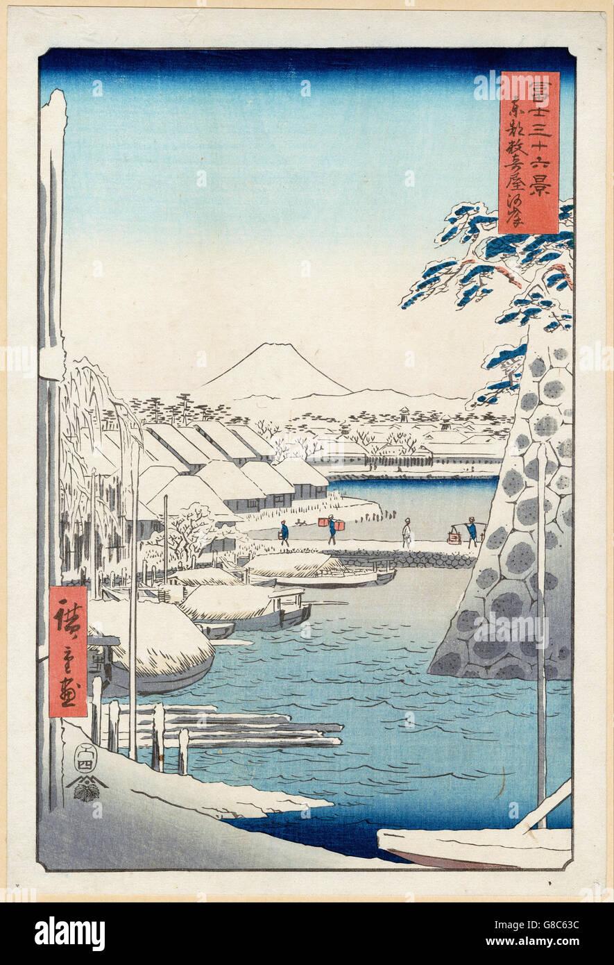 Utagawa Hiroshige I, published by Tsutaya Kichizō (Kōeidō) - Riverbank at Sukiya - Stock Image