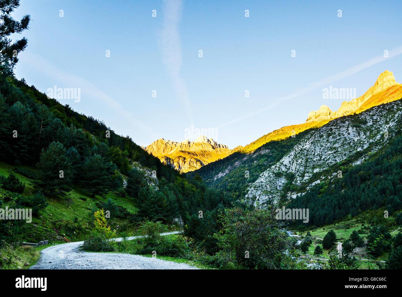 Autumn into the Pyrenees mountains Stock Photo