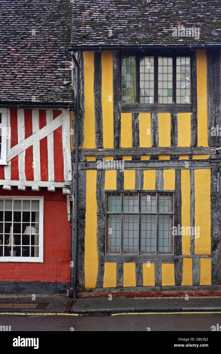 Medieval timber framed houses in Lavenham, Suffolk - Stock Image