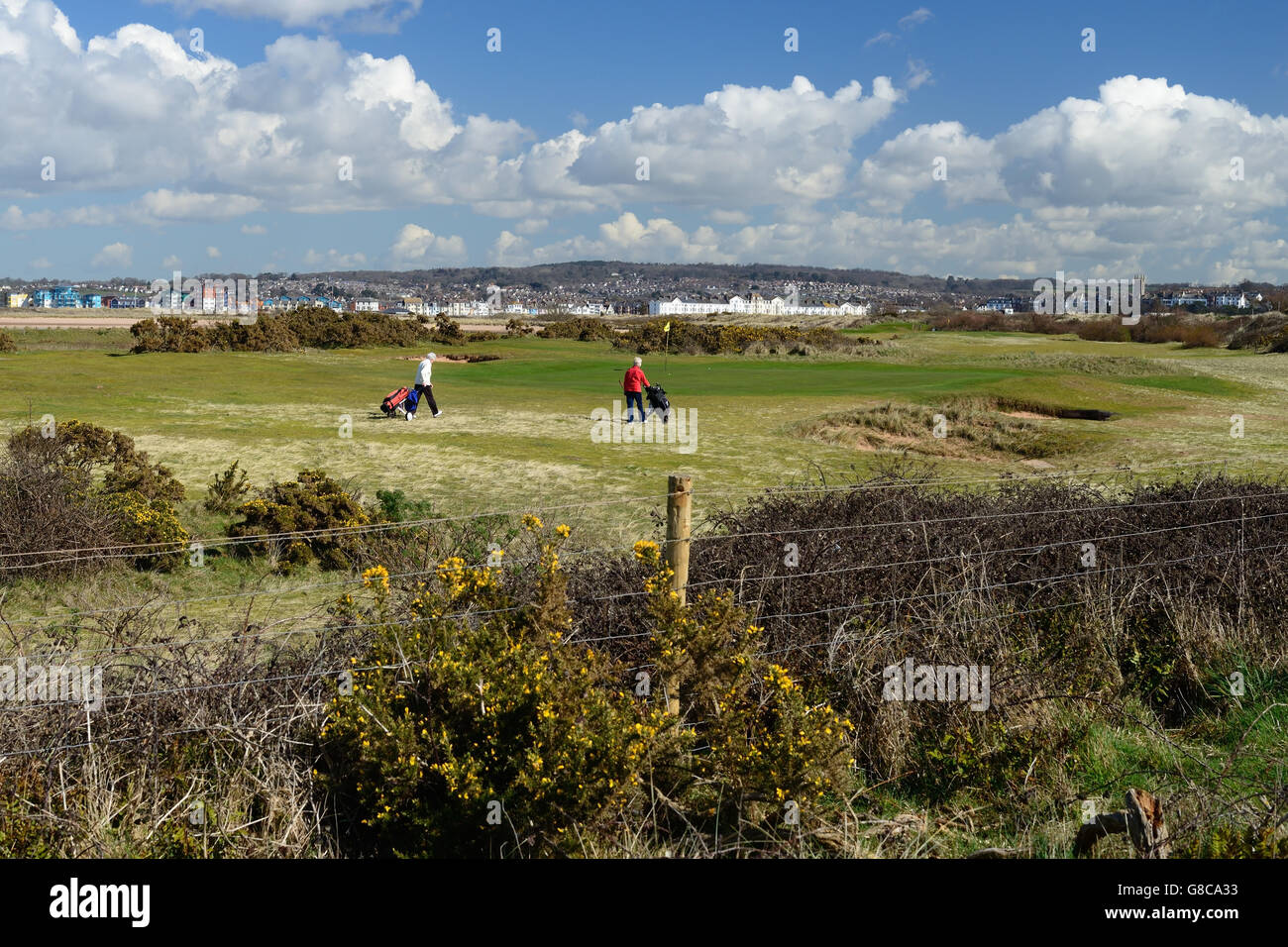 Seaside golf course, looking towards Exmouth. - Stock Image