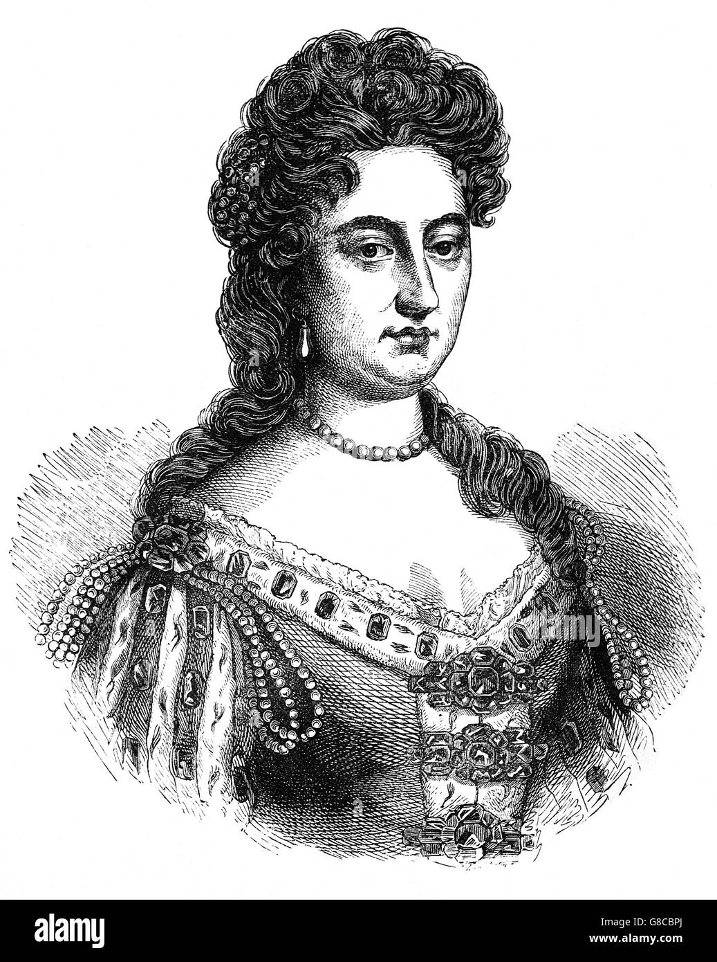 Mary II (1662 – 1694) was joint monarchs of England, Scotland, and Ireland with her husband, William of Orange, - Stock Image