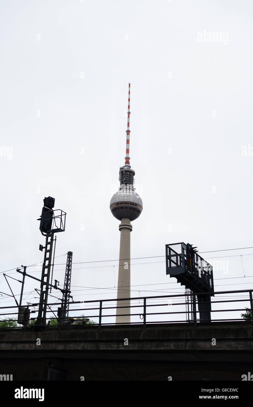 Berlin, Germany. The 368m Fernsehturm (Berlin TV Tower) on Alexanderplatz, built in 1969 in what was then East Germany - Stock Image