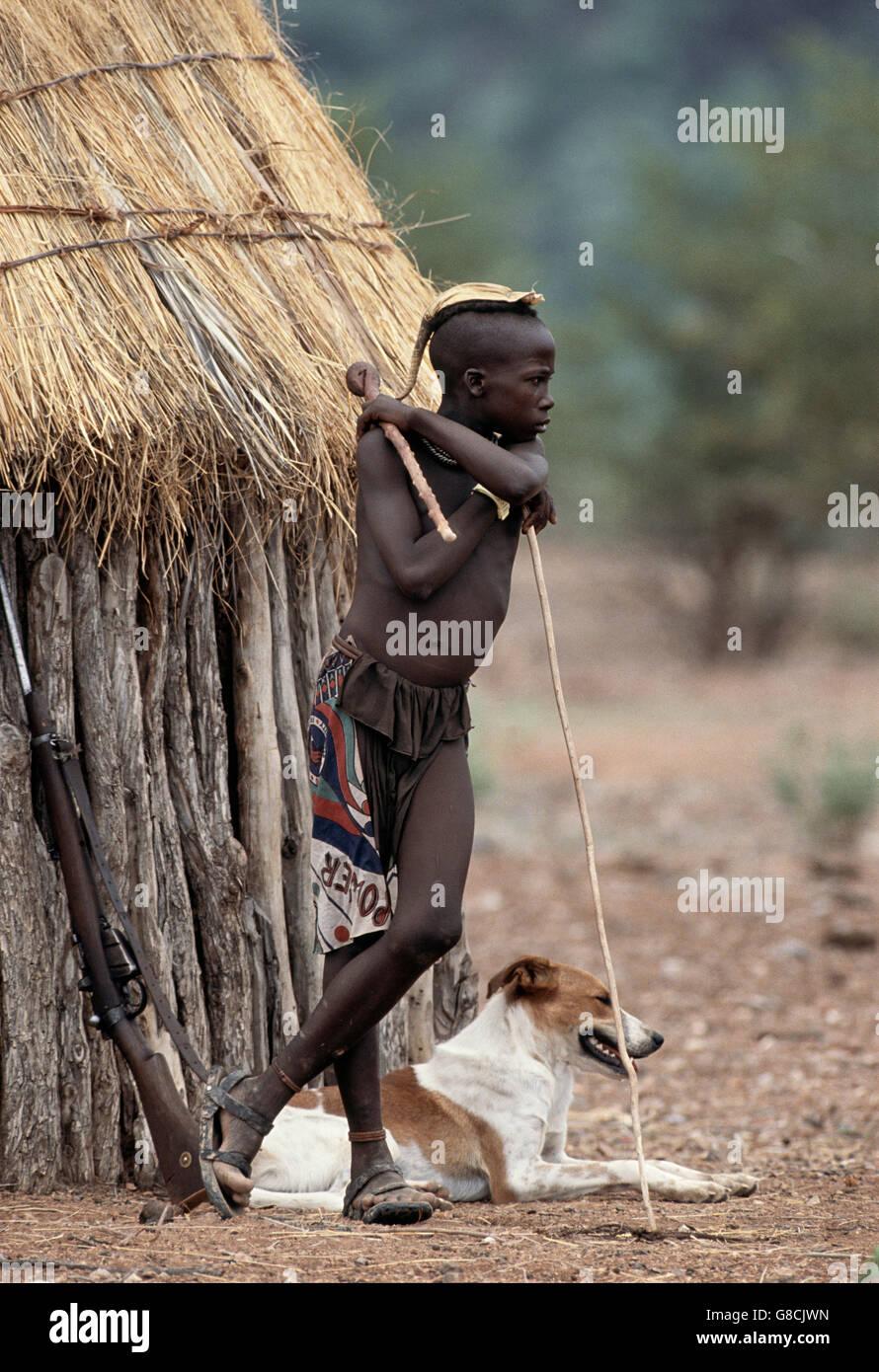 Little Himba boy, Namibia. Art. - Stock Image