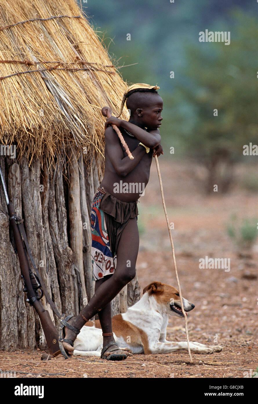 Little Himba boy, Namibia. - Stock Image