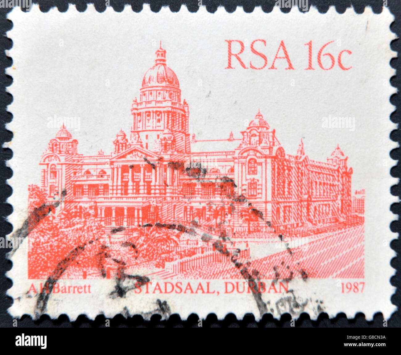 SOUTH AFRICA - CIRCA 1986: A stamp printed in South Africa shows image of the Stadsaal building in Durban, circa - Stock Image