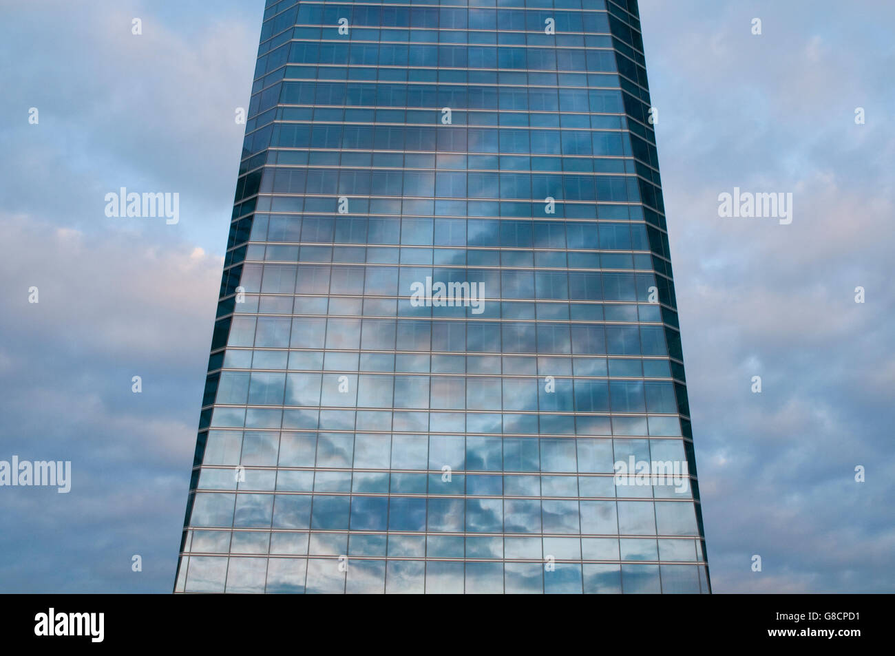 Cloudy sky reflected on Cristal Tower. CTBA, Madrid, Spain. - Stock Image