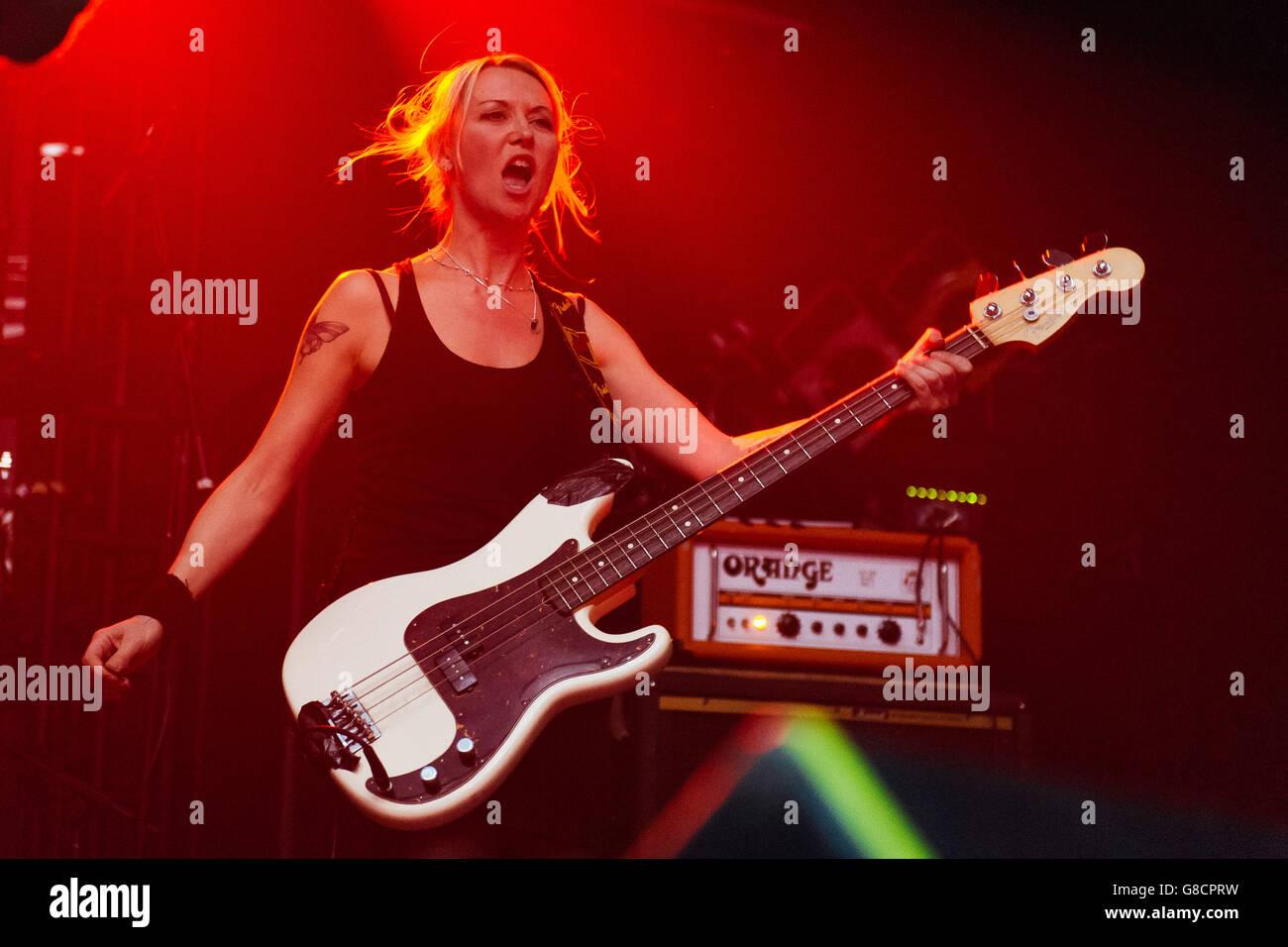 Julia Ruzicka, bassist for Future Of The Left, at Electric Ballroom, London. 21st April 2016. Stock Photo