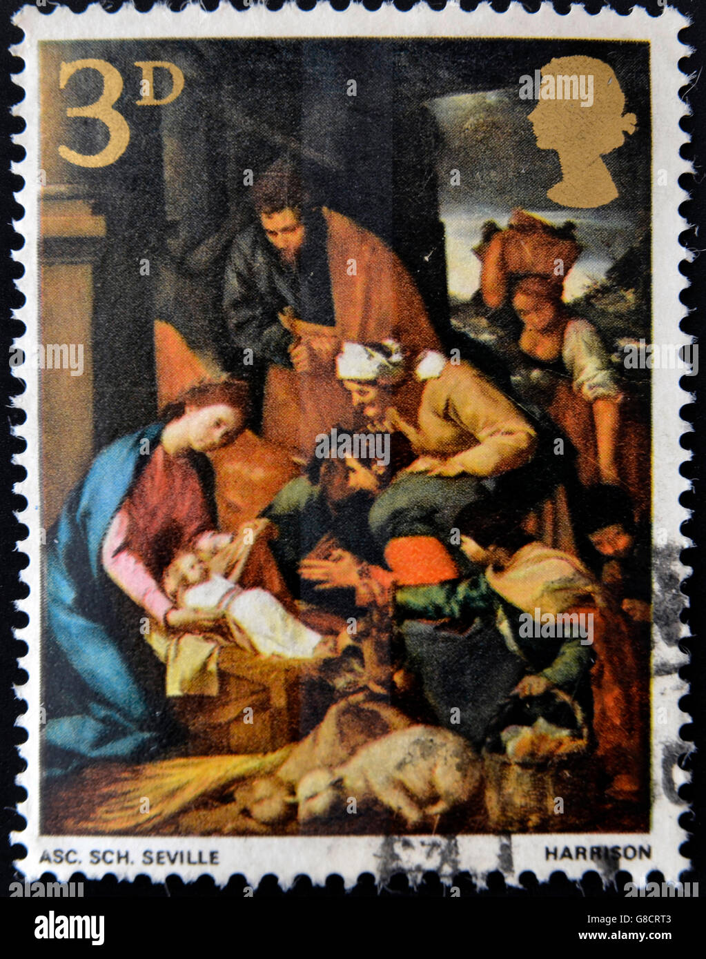 UNITED KINGDOM - CIRCA 1967: A stamp printed in Great Britain shows The Adoration of the Shepherds, School of Seville, - Stock Image