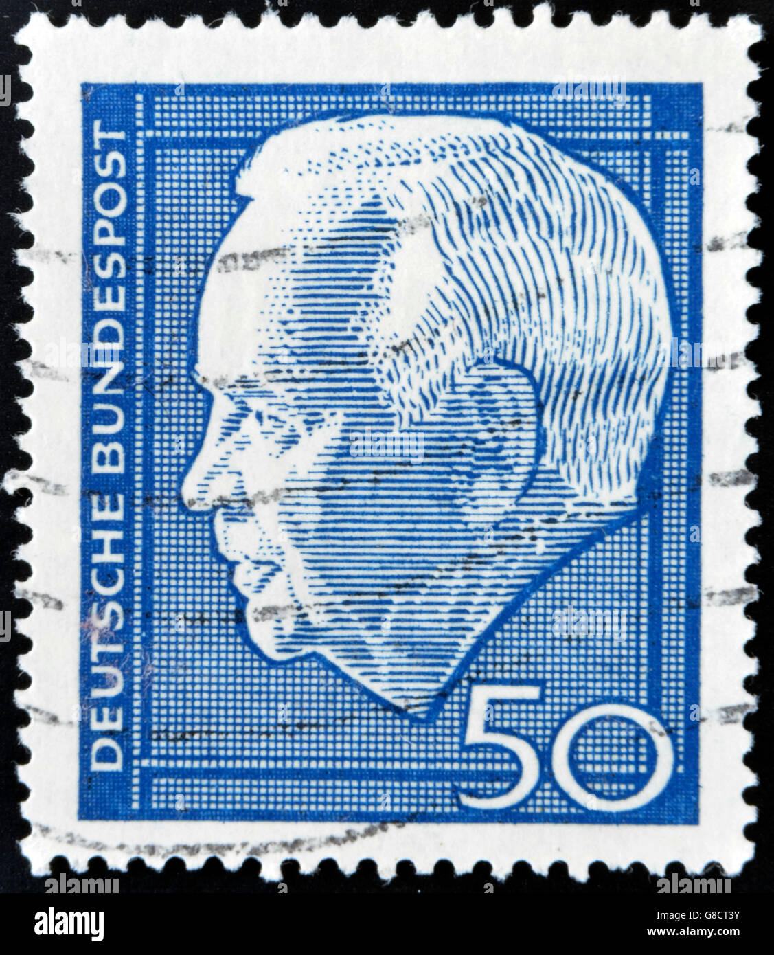 GERMANY - CIRCA 1964 A stamp printed in Germany shows Heinrich Lubke Karl, was President of the Federal Republic - Stock Image