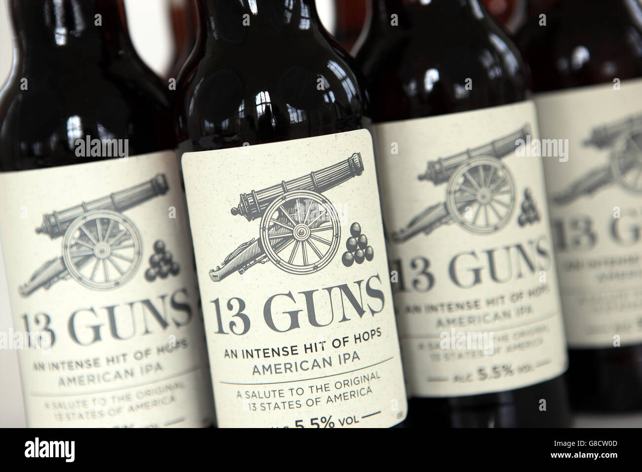 Bottles of 13 Guns American style IPA brewed in Lancashire, England - Stock Image