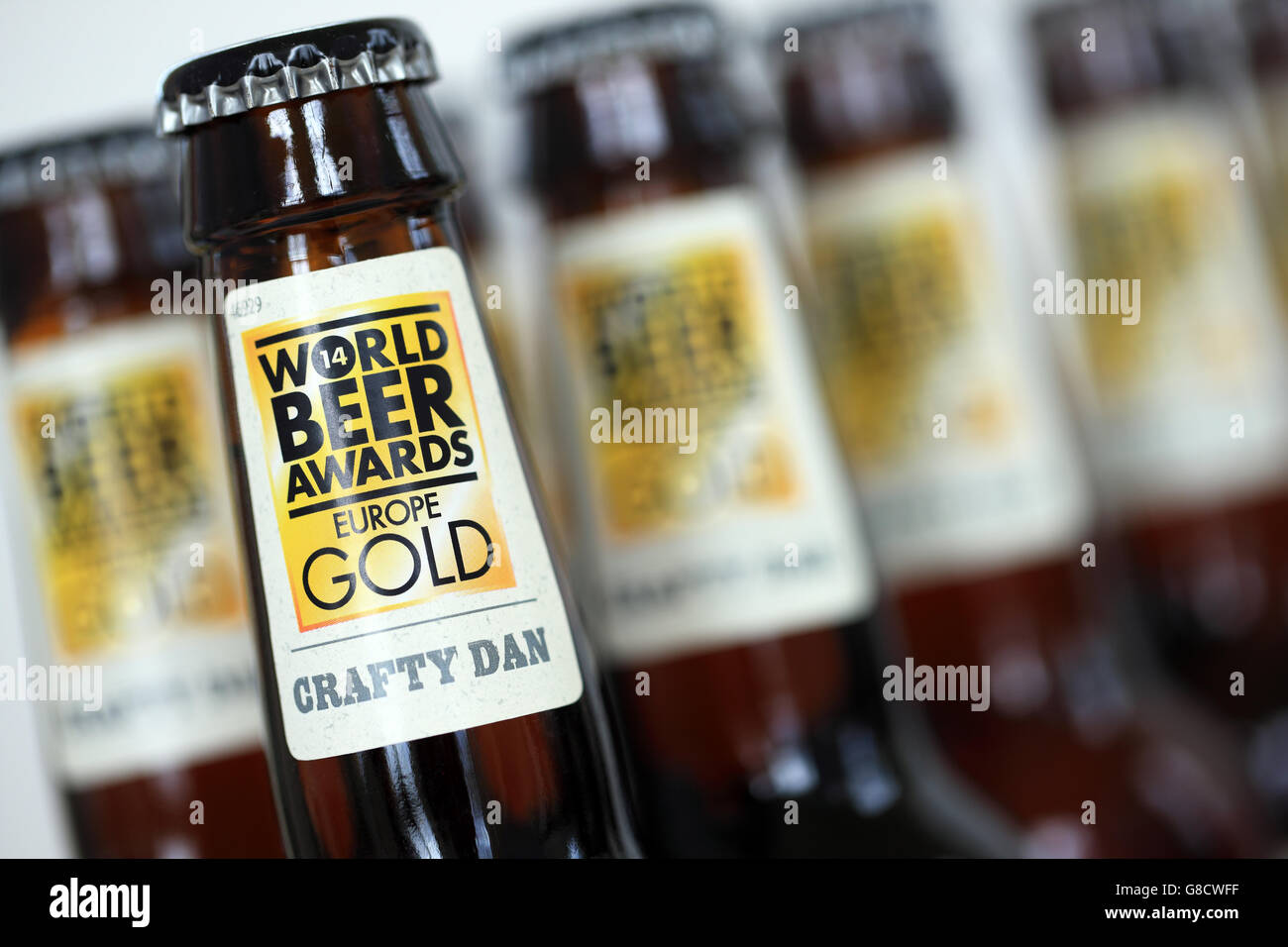 World Beer Awards Europe Gold label on Crafty Dan beers by Daniel Thwaites of Blackburn, England - Stock Image