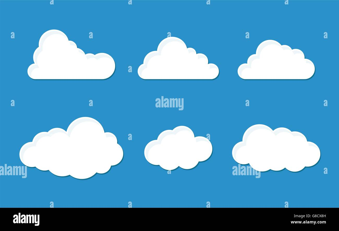 Cloud set with six fluffy styles - Stock Vector
