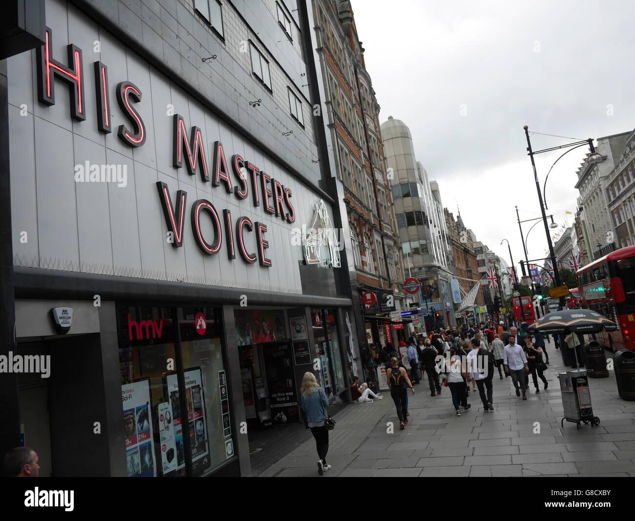 HMV His Masters Voice Retail shop Oxford Street London - Stock Image