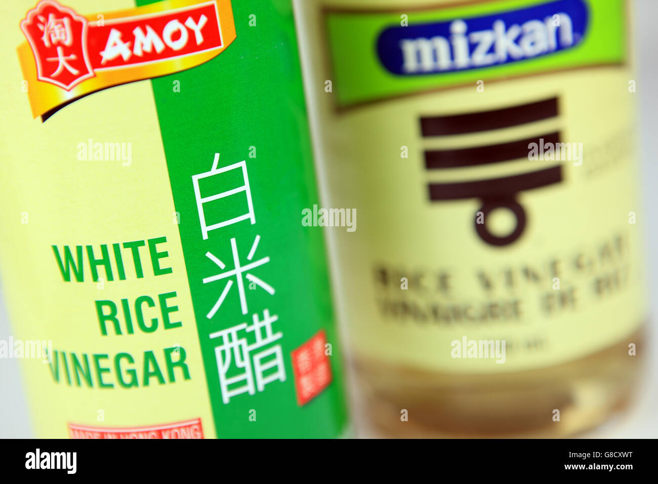 Bottles of Chinese and Japanese White Rice Vinegar - Stock Image