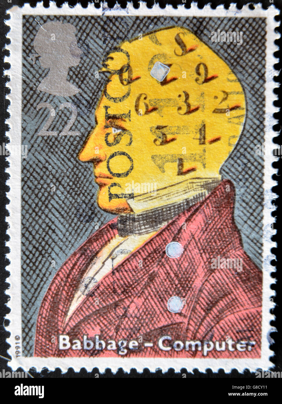 UNITED KINGDOM - CIRCA 1991: a stamp printed in the Great Britain shows Charles Babbage, computers, circa 1991 - Stock Image