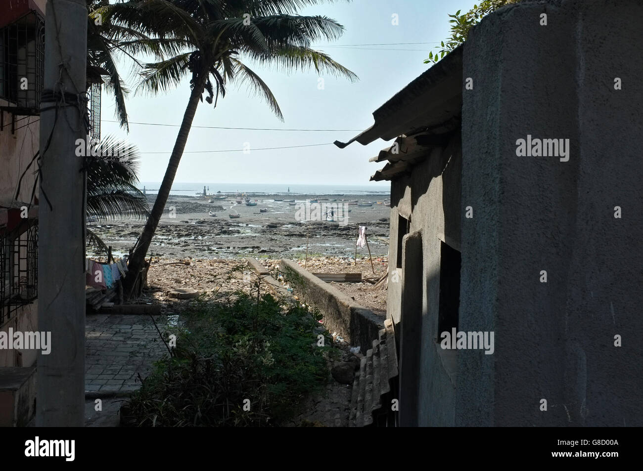 the beach front at the area of chimbai village, bandra, mumbai, india - Stock Image