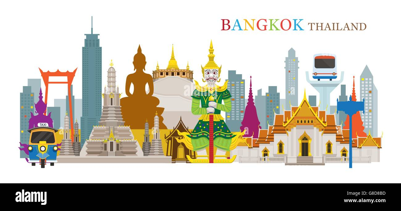 Bangkok, Thailand and Landmarks, Travel Attraction, Urban Scene - Stock Image