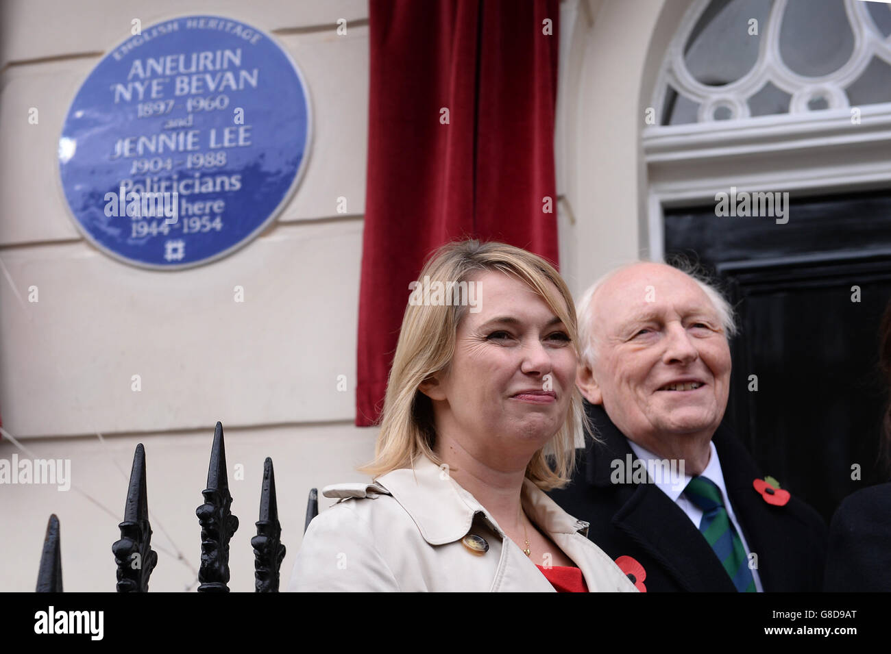Blue plaque honouring Aneurin Bevan and Jennie Lee - Stock Image