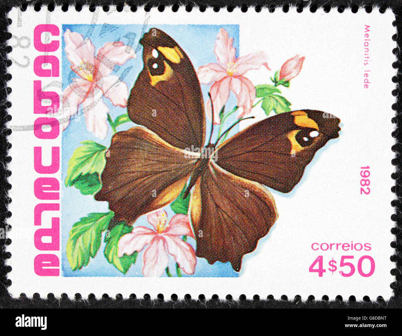 GROOTEBROEK ,THE NETHERLANDS - MARCH 8,2016 : A stamp printed in Cape Verde shows the butterfly Malanitis lede Stock Photo