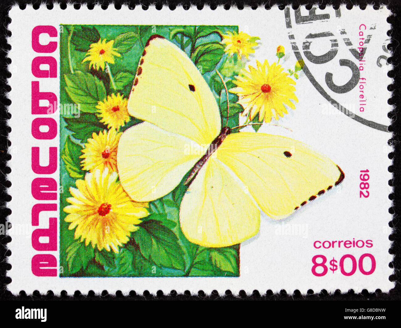 GROOTEBROEK ,THE NETHERLANDS - MARCH 8,2016 : A stamp printed in Cape Verde shows the butterfly Malanitis lede on Stock Photo