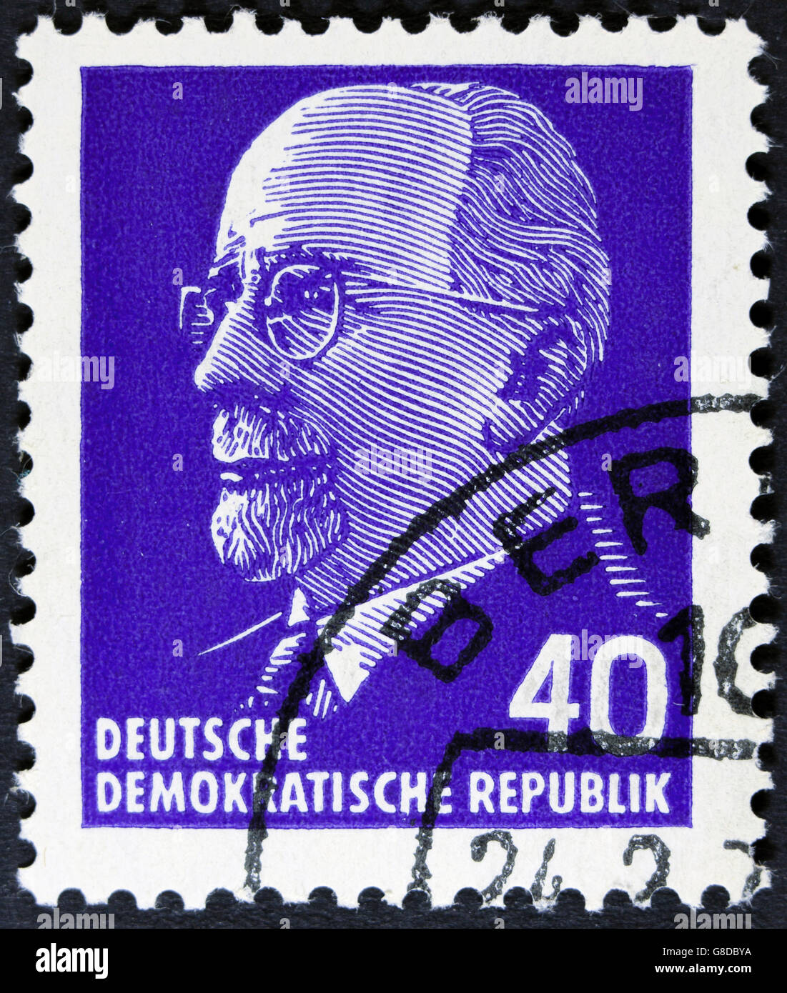GDR - CIRCA 1961: post stamp printed in German Democratic Republic - East Germany shows Chairman Walter Ulbricht - Stock Image