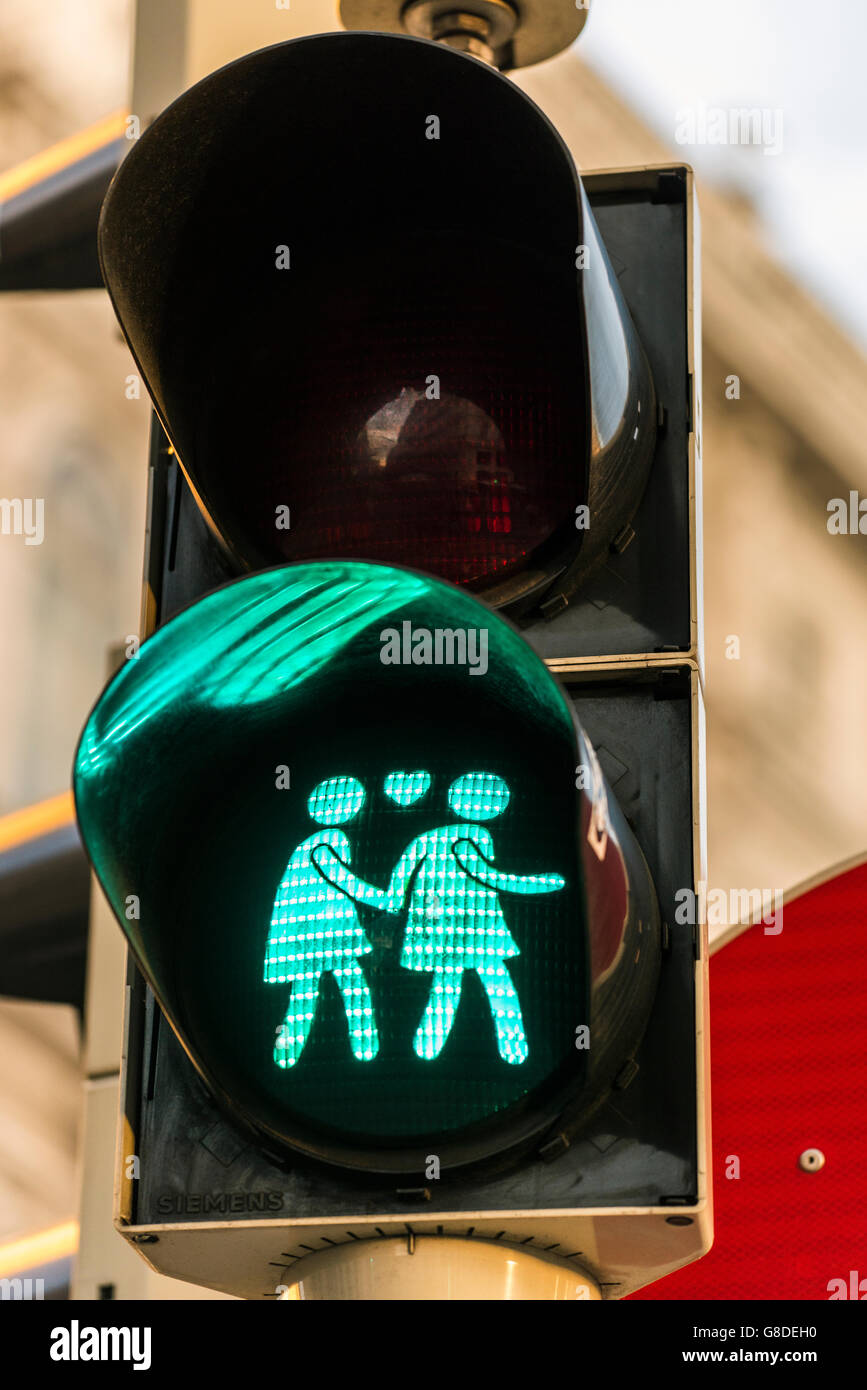 Gay-themed pedestrian traffic light in Vienna, Austria - Stock Image