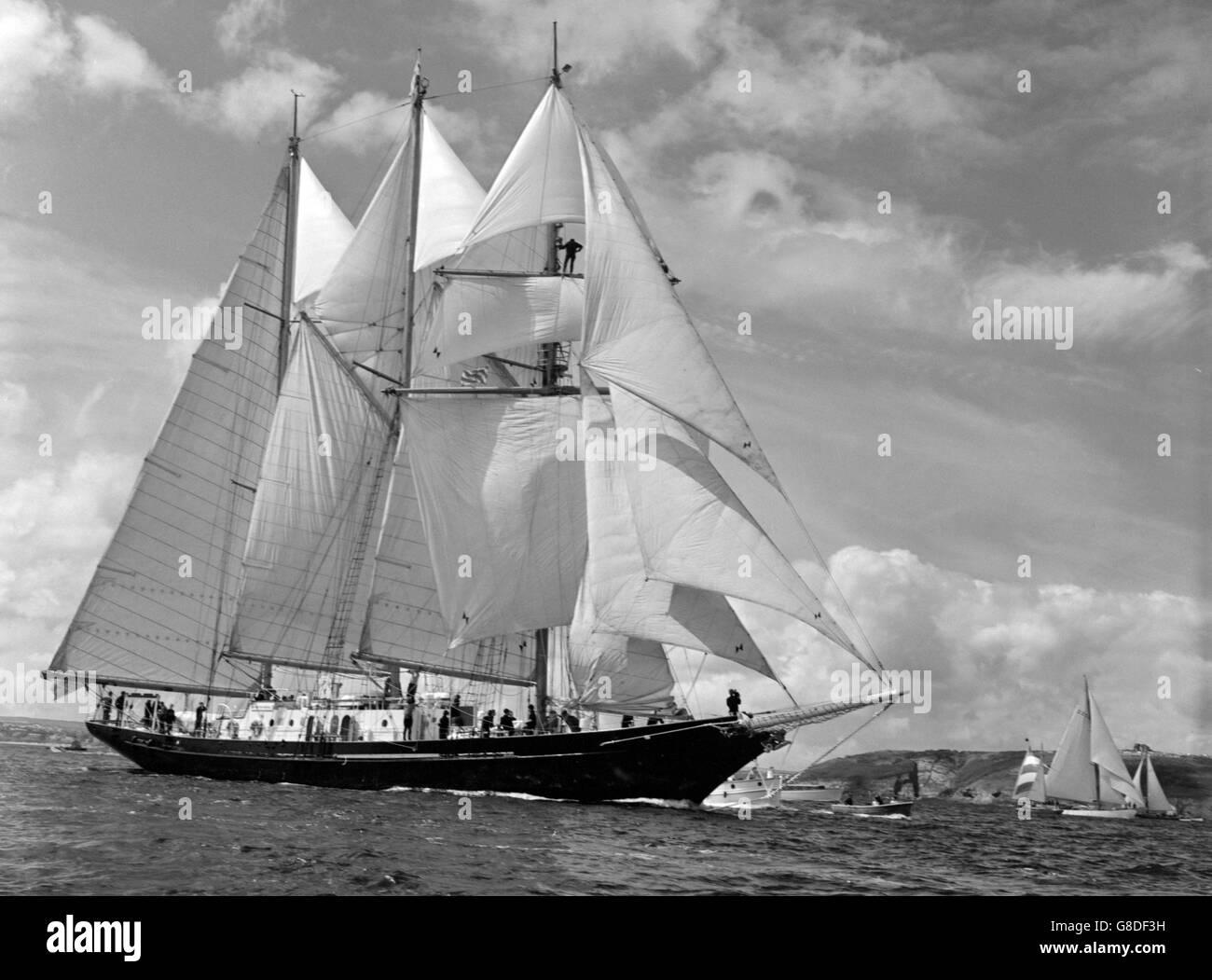 Sailing - Tall Ships Race - Sir Winston Churchill Schooner - Falmouth, Cornwall - Stock Image