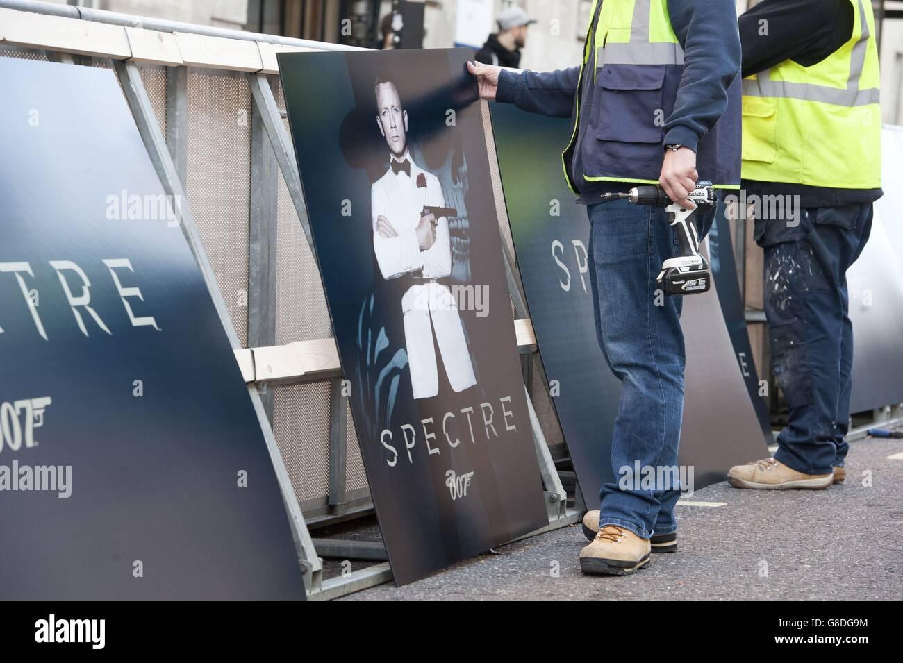 Spectre premiere - Preparations - London - Stock Image