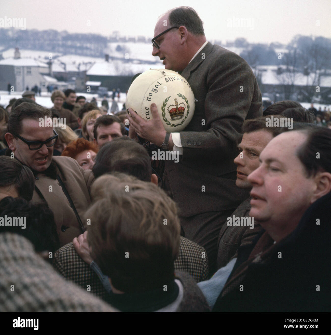 Customs and Traditions - Shrovetide Football Match - Ashbourne, Derbyshire - Stock Image