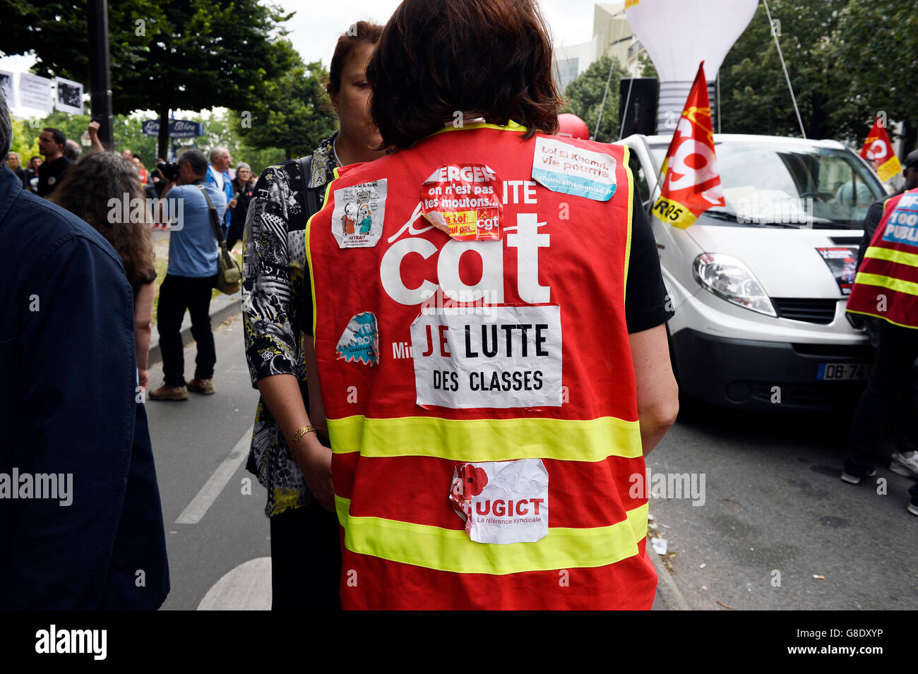March against labour law in Paris on 28th of june 2016 - Stock Image