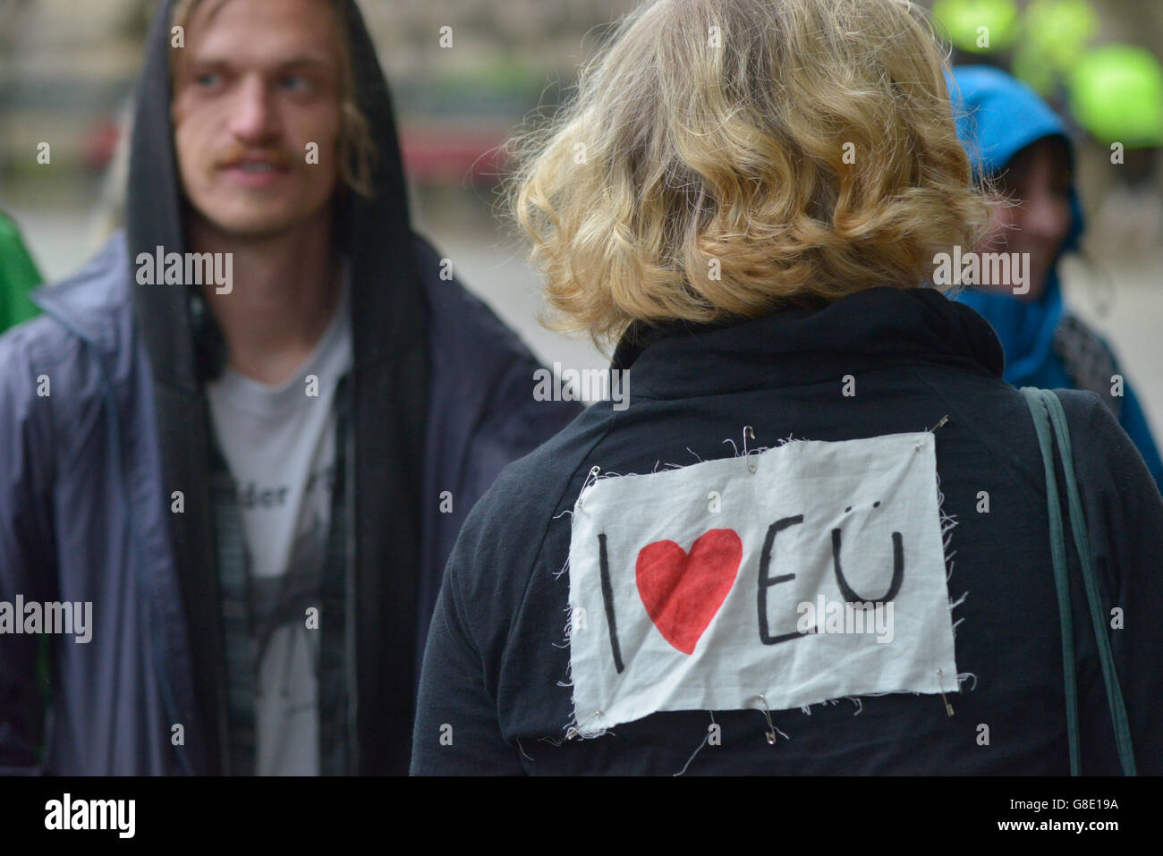 Manchester, UK. 28th June, 2016. A person wearing an 'I [Heart] E[uropean] U[nion]' badge at the 'Undo Brexit' demonstration Stock Photo