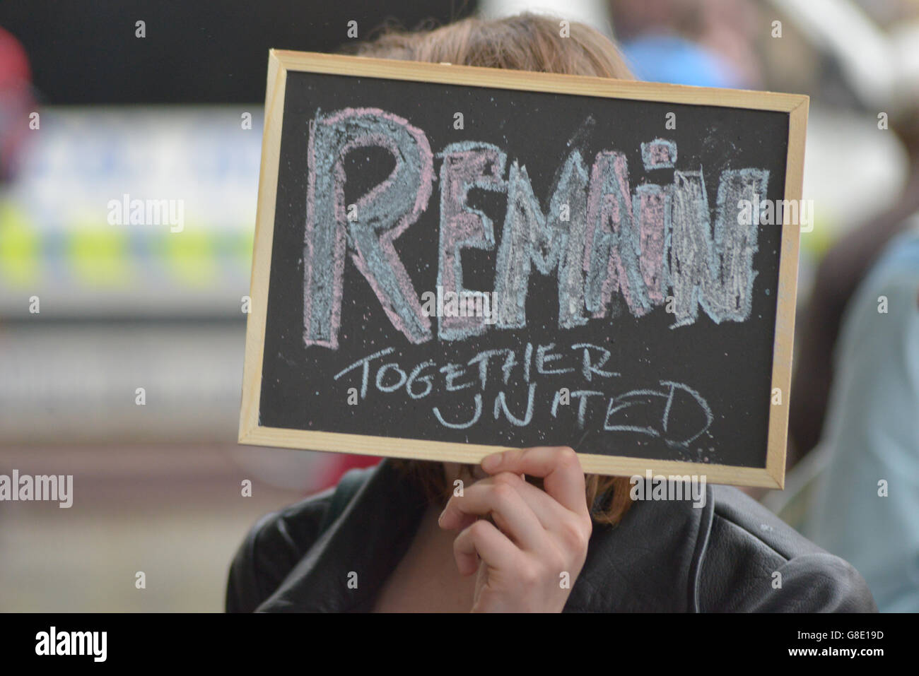 Manchester, UK. 28th June, 2016. A person demonstrating to have the United Kingdom's European Union membership referendum Stock Photo