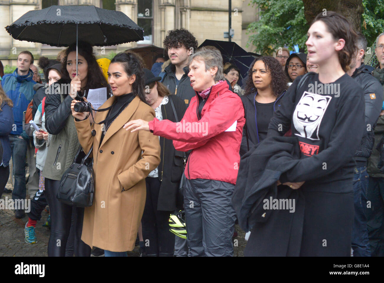 Manchester, UK. 28th June, 2016. People demonstrating to have the United Kingdom's European Union membership referendum Stock Photo
