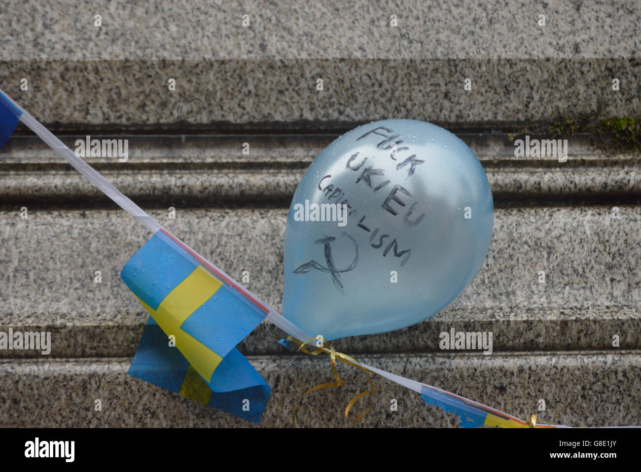 Manchester, UK. 28th June, 2016. A balloon displaying an anti-European Uninon, anti-capitalist, message at the 'Undo Stock Photo