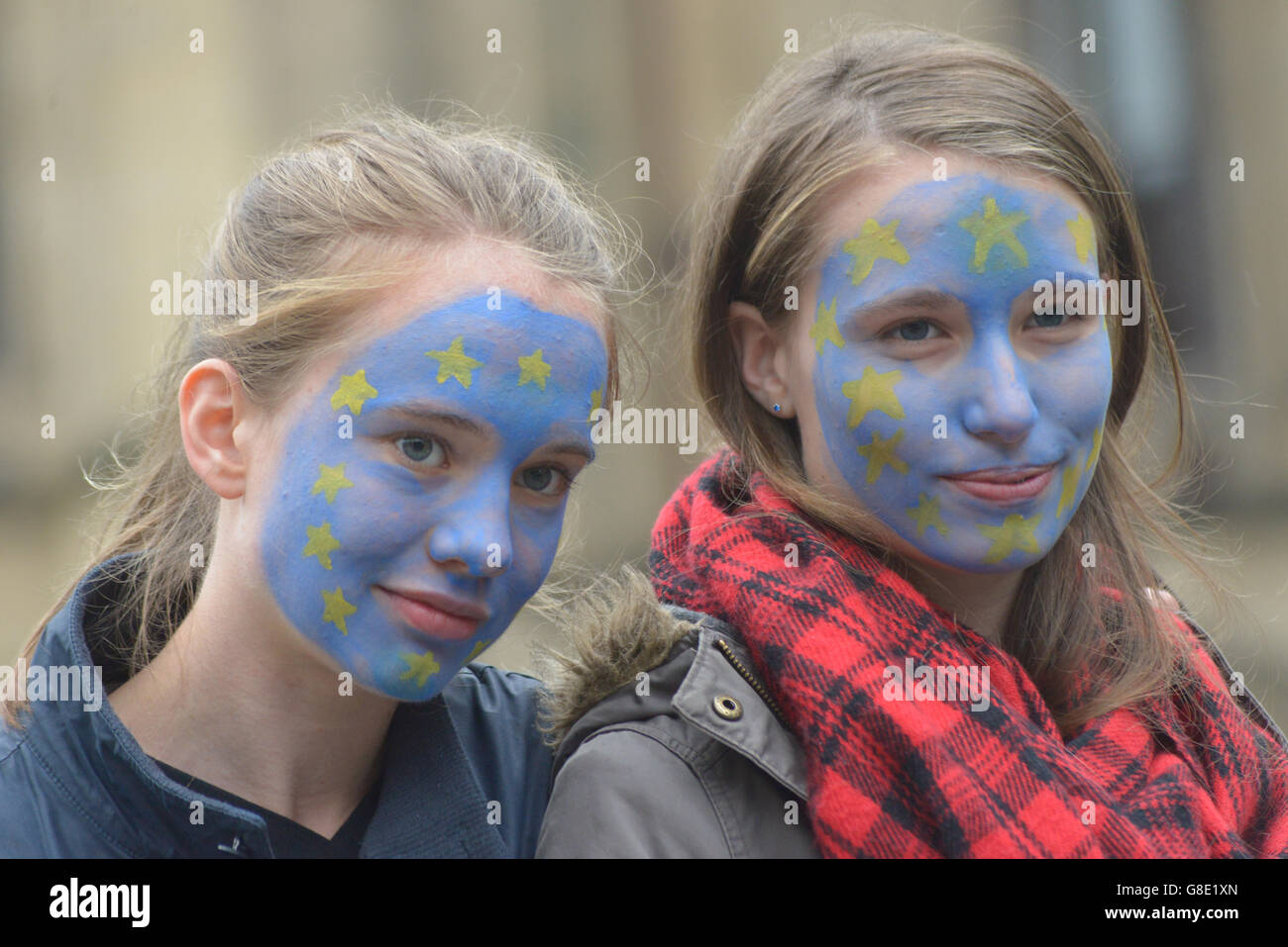 Manchester, UK. 28th June, 2016. People wearing the European Union flag, using facepaint, at the 'Undo Brexit' demonstrtation Stock Photo