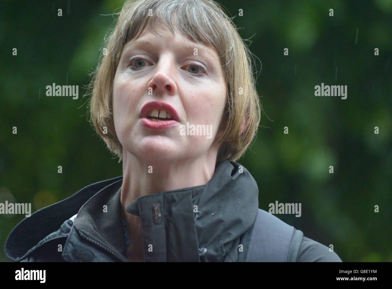 Manchester, UK. 28th June, 2016. A person speaking against the United Kingdom's membership of the European Union, Stock Photo