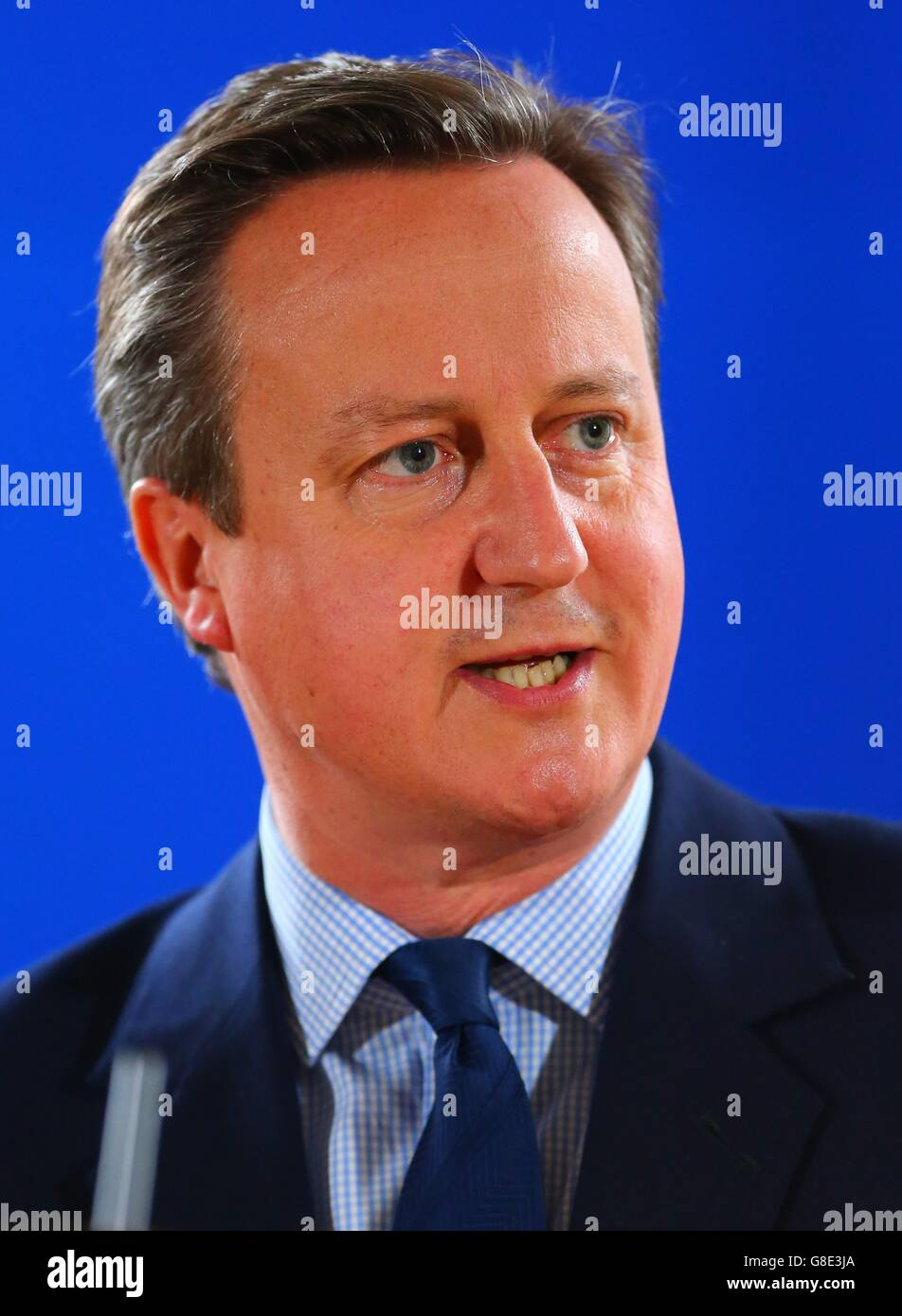 Brussels, Belgium. 28th June, 2016. British Prime Minister David Cameron holds a press conference in Brussels, Belgium, - Stock Image