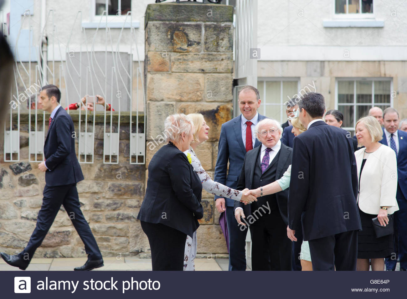 Edinburgh, UK. 29 June, 2016. President Higgins and his party are introduced to the Deputy Presiding Officers Christine - Stock Image